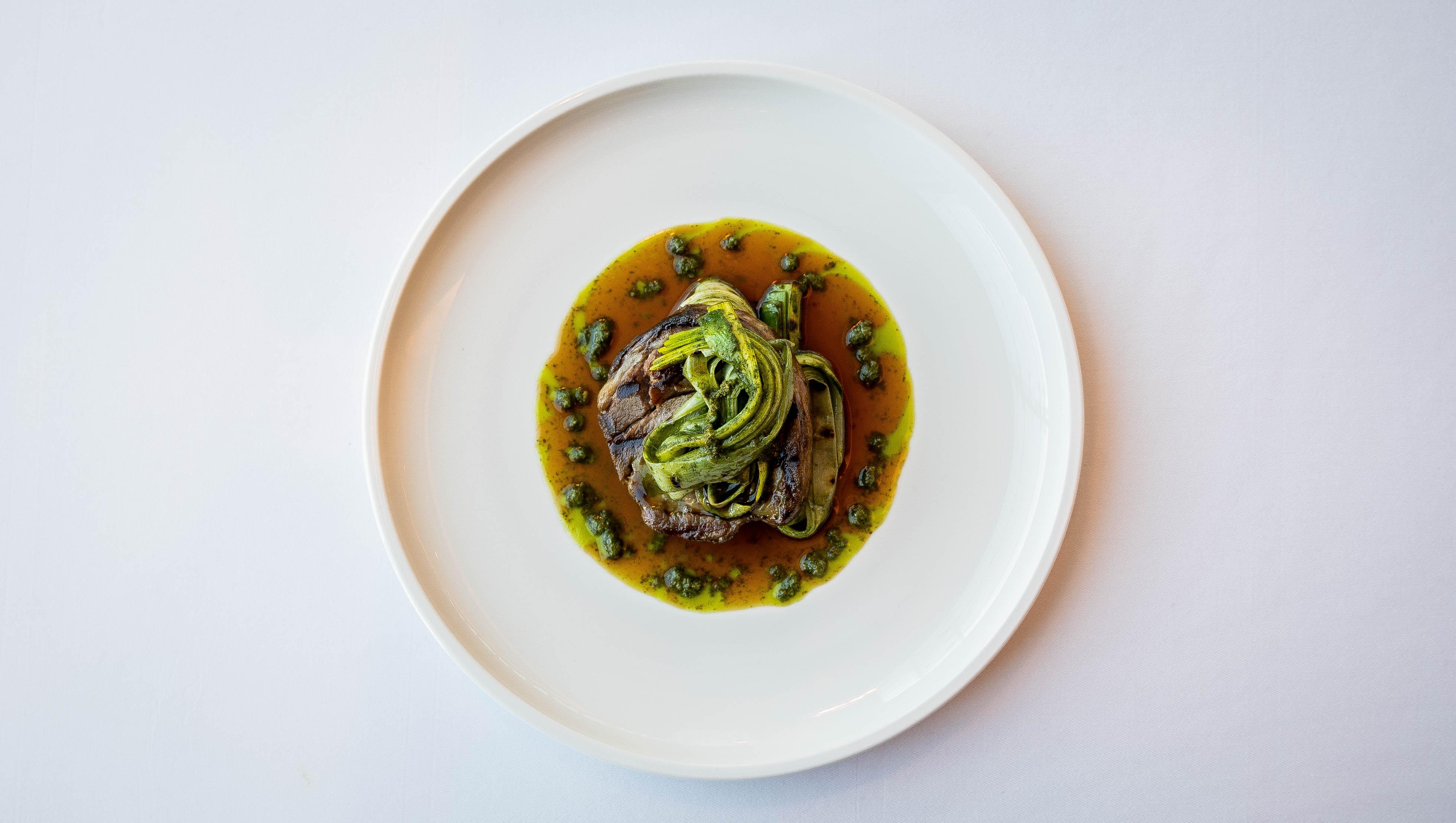 Lamb shoulder, basil pesto  & grilled le