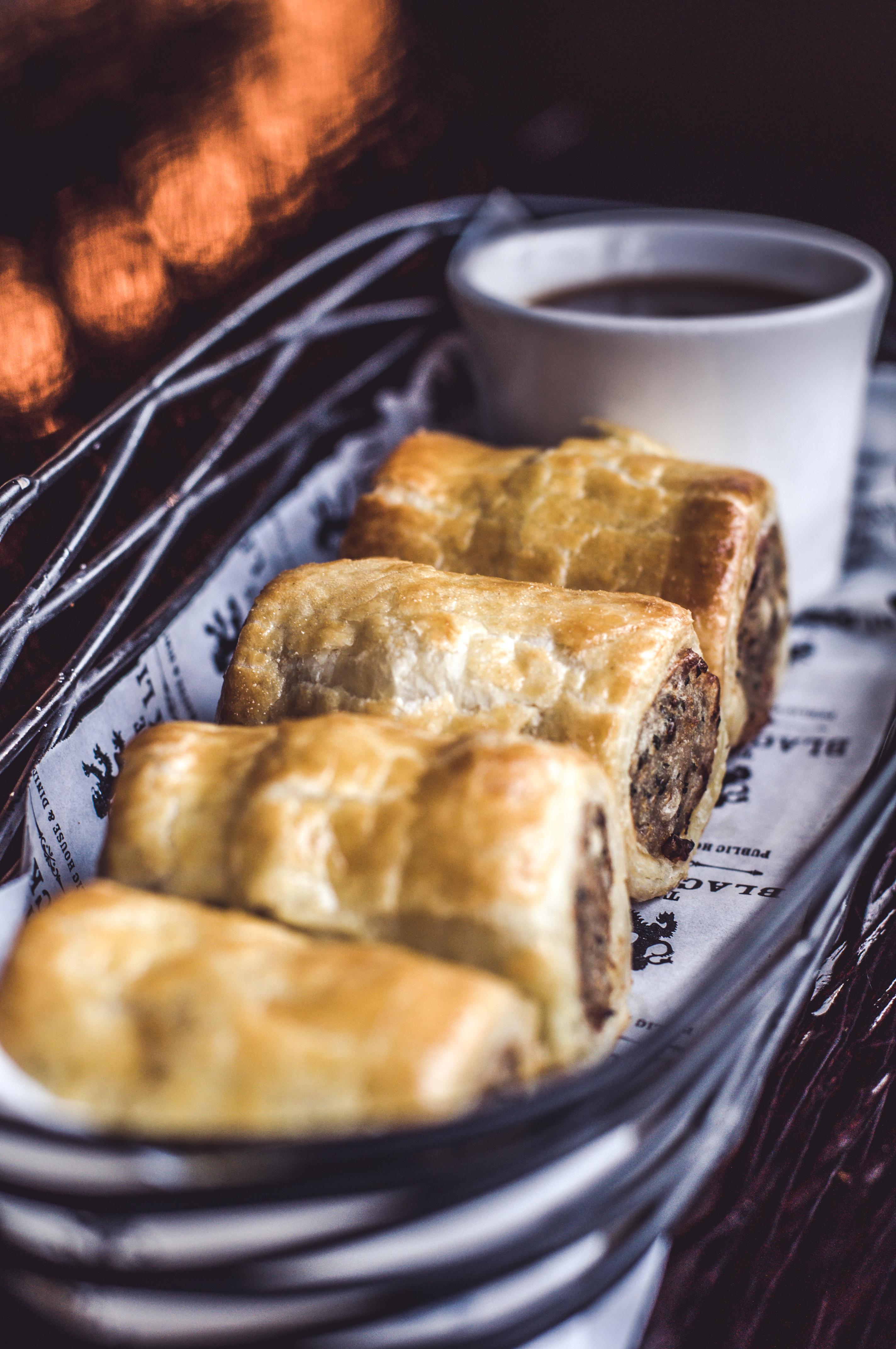 sausage rolls & BBQ dip
