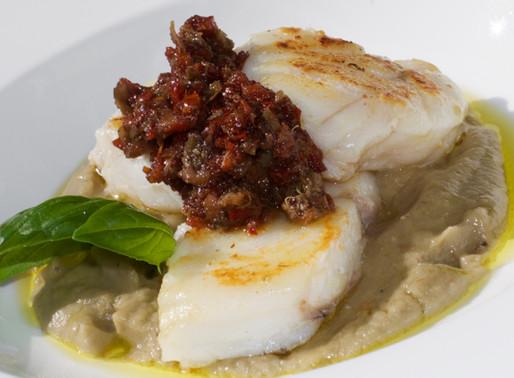 Pescatrice con crema di melanzane e tapenade - Anglerfish with eggplant cream and tapenade