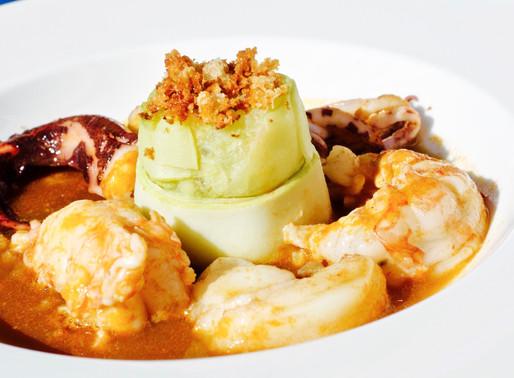 Tortino di patate e zucchine con guazzetto di pesce al pomodoro - Potatoes and zucchini pie with fis