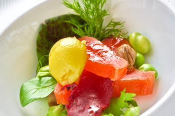 Salmone Alaska marinato con barbabietola ed insalatina estiva