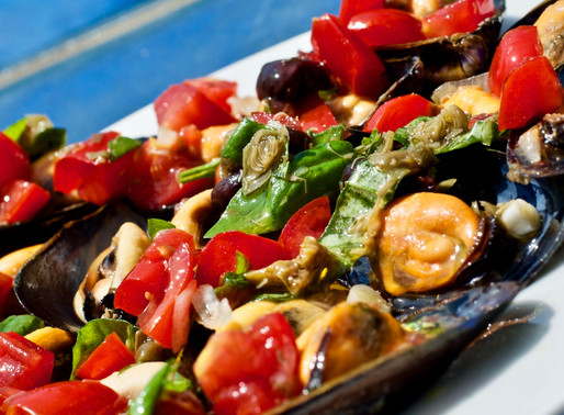 Cozze con salsa vergine - Mussels with virgin sauce