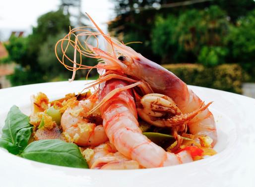 Spaghetti con gamberi rossi di Sanremo e crema di zucchine - Spaghetti with Sanremo's red prawns