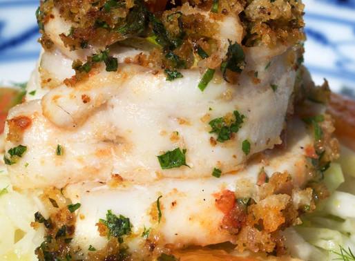 Involtino di pesce spatola con insalata di finocchio agli agrumi - Paddlefish roulade with fennel sa