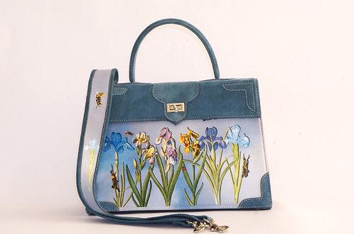 "Marquise daim bleu ""les iris"" fond bleuté 9437"