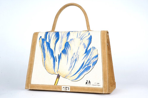 "Marquise daim havane & toile ""la tulipe et l'oiseau bleu"" 7463"