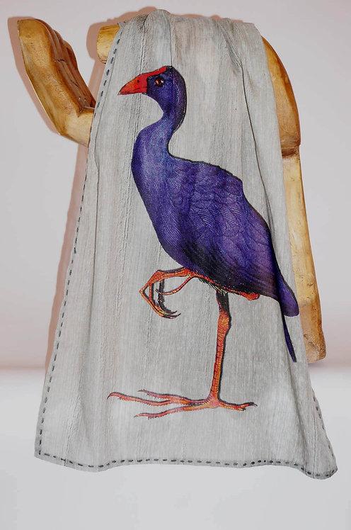 Pashmina Wool & Silk ibis & poule sultane aqua