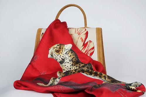 """Foulard   """" La panthère & le tigre """" rouge cerise"""