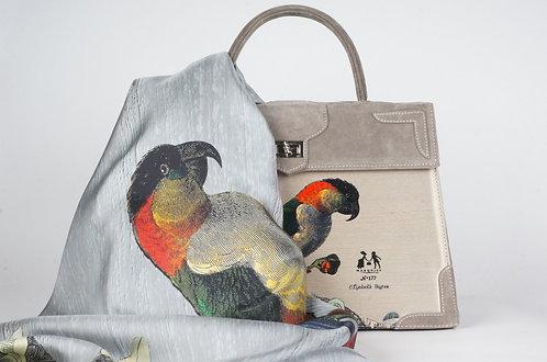 """Foulard Soie """"les perroquets """" aqua"""