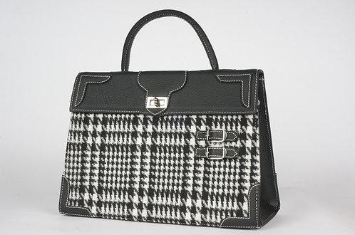 Highland  Tartan noir et blanc noir cuir noir 8342