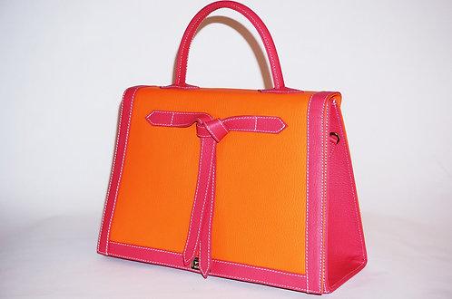 Marquise cuir orange & framboise 5620