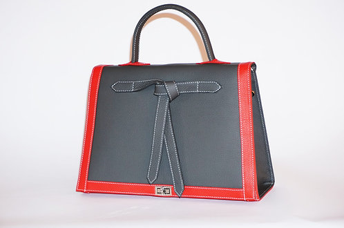 Marquise cuir gris anthracite & rouge 5882