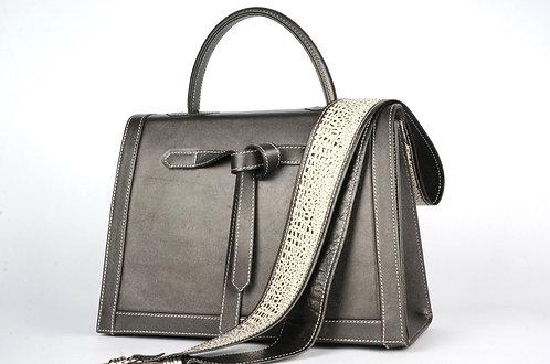 """Marquise cuir gris métallisé toile """"perles argent"""" 7414"""