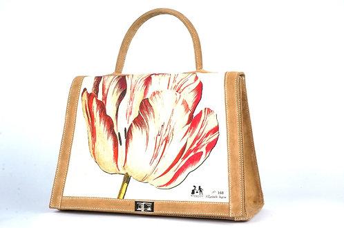 "Marquise daim havane toile ""la tulipe rouge et le geai""7459"
