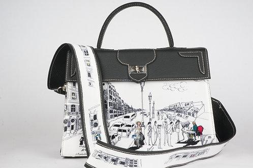 Cuir noir Voltaire & la vie parisienne blanc 8229