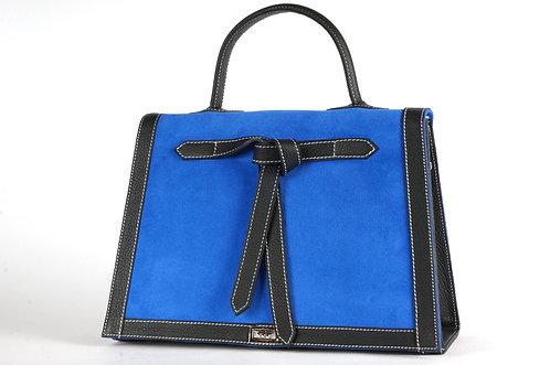 Marquise daim bleu roy & cuir noir     6607