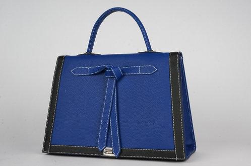 Marquise cuir bleu roy & noir  7456
