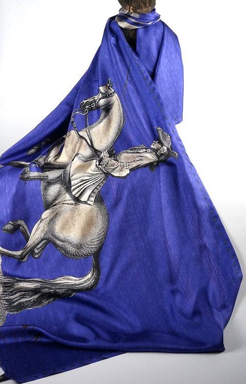 "Foulard   "" cavaliers "" violet indigo"