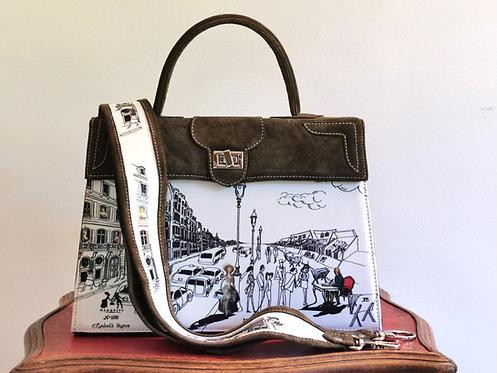 Marquise daim taupe bronze Voltaire & la vie parisienne blanc 10031
