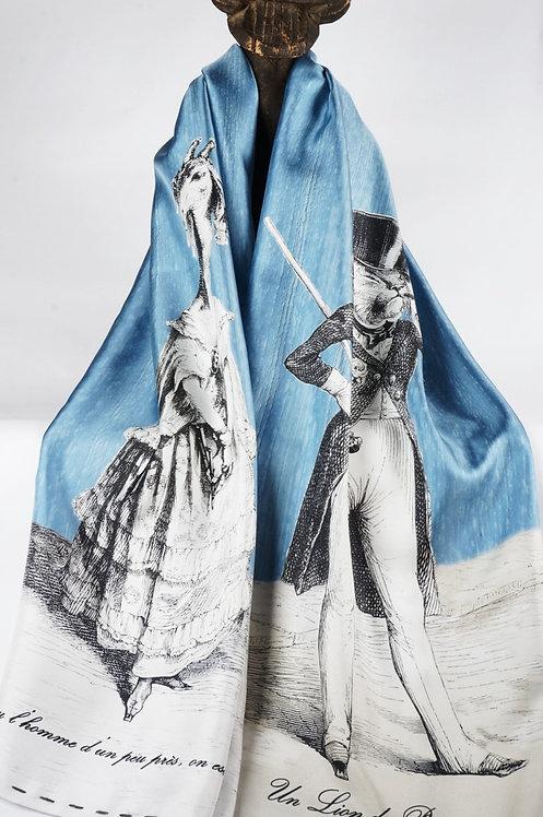 """Foulard   """" Le lion & la girafe """" bleu ciel"""