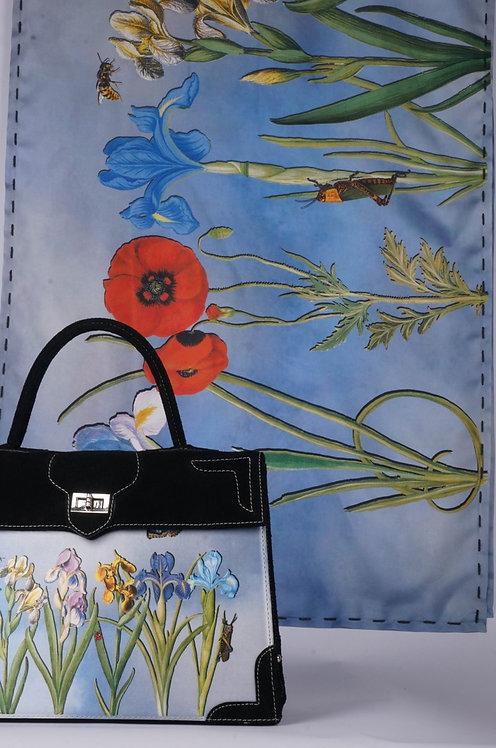 """Foulard   """"Nature les  Iris"""" bleu"""