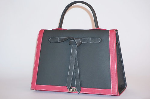 Sac Marquise gris anthracite cuir framboise 5826