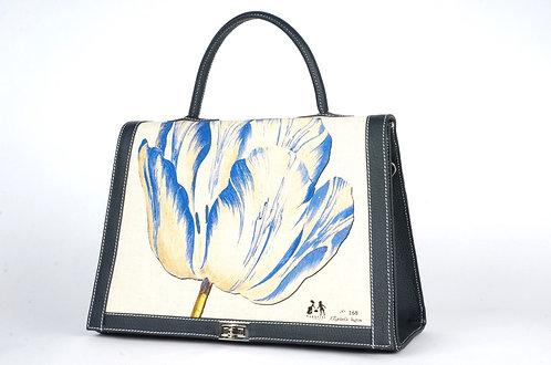 """Marquise cuir noir toile """"la tulipe bleue et les 2 mésanges 7452"""