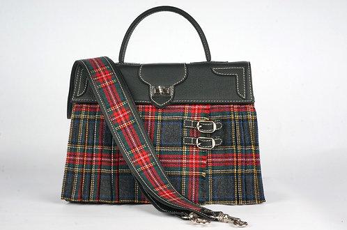 Marquise Highland Tartan gris, rouge, bleu marine cuir noir 8470