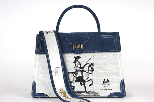 Marquise daim bleu marine cavalier 8149