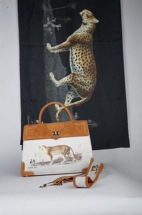 "Foulard   "" La panthère & le tigre "" noir"