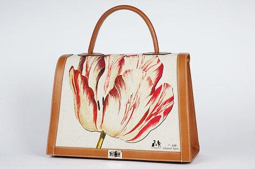 """Marquise cuir noir toile """"la tulipe rouge et l'Oiseau"""" 7802"""