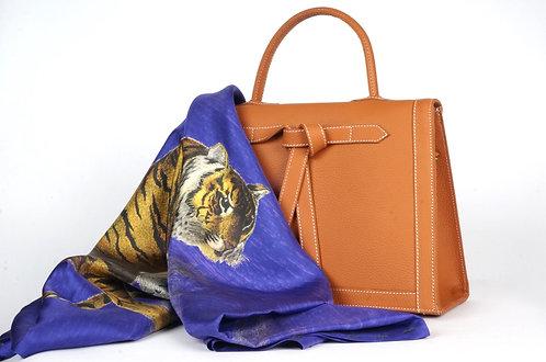 "Foulard   "" La panthère & le tigre "" violine indigo"