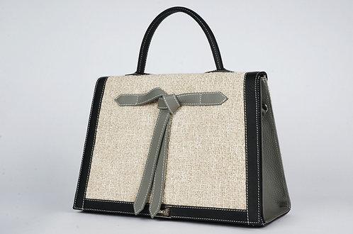 Marquise tissu gros lin cuir noir & ardoise   7409