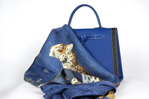 """Foulard   """" La panthère & le tigre """" bleu royal"""