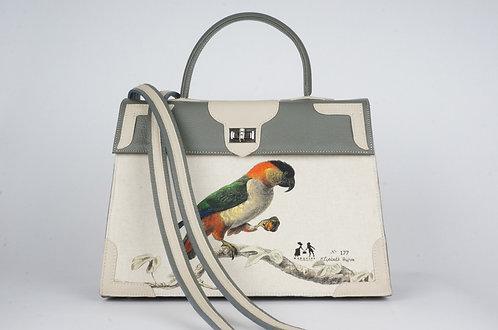"""Medicis  cuir gris & tourterelle toile lin""""Perroquets""""7908"""