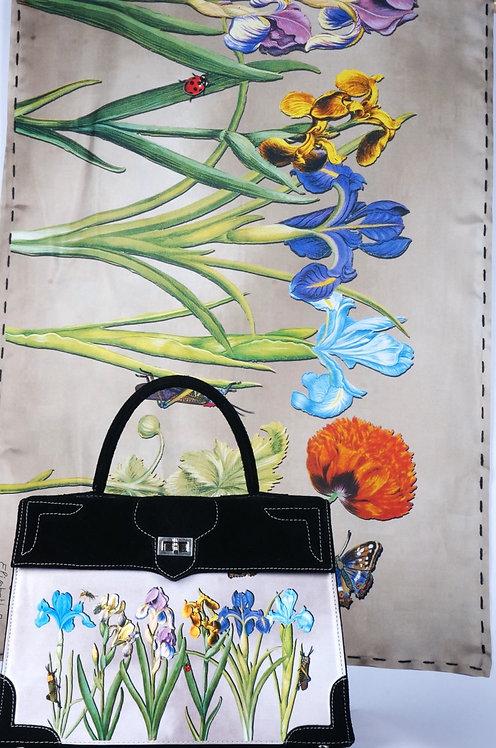 "Foulard   ""Nature les  Iris"" taupe"