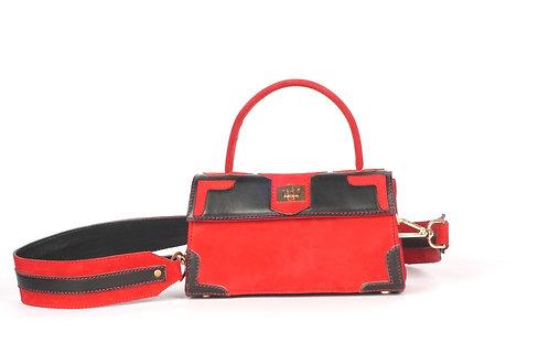 Mini Girly Marquise cuir noir daim rouge 9251