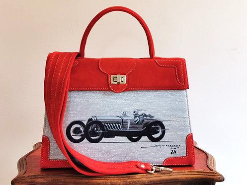 "Marquise daim rouge cerise ""La voiture""10060"