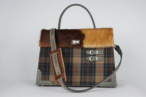 Highland  taupe & noir cuir gris vache rousse & paille 7949