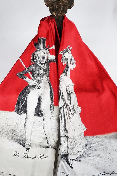 """Foulard   """" Le lion & la girafe """" rouge cerise"""