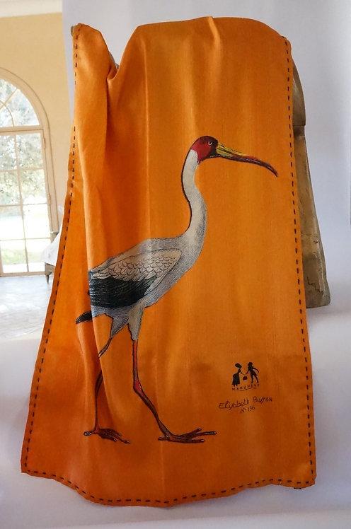 "Marquise foulard  ""ibis &poule sultane""orange soie"