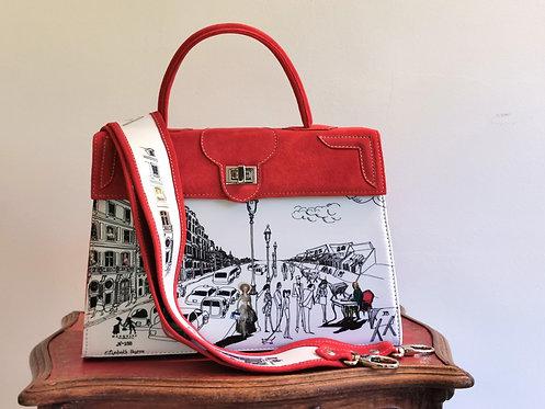 Marquise daim rouge cerise Voltaire & la vie parisienne blanc 10033