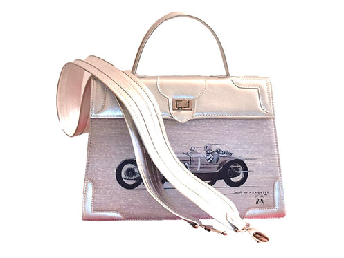 """Marquise cuir argent """"La voiture""""10112"""