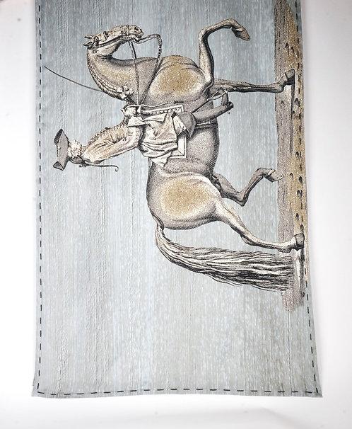 "Foulard   "" Les Cavaliers "" aqua"