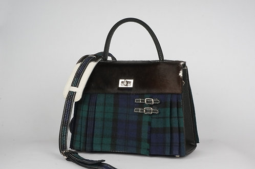 Girly Highland marine & vert cuir noir vache noire & blanche  7943