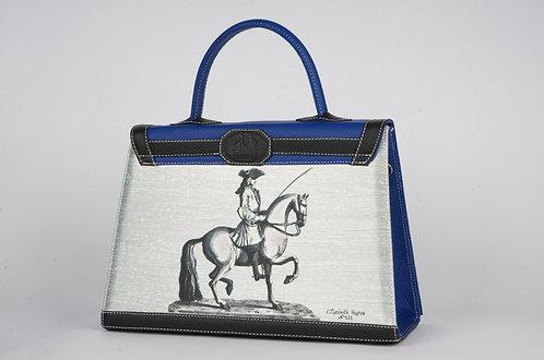 Marquise cuir bleu roy & noir  cavalier 7447