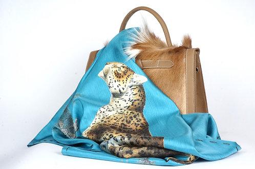 "Foulard   "" La panthère & le tigre "" turquoise"