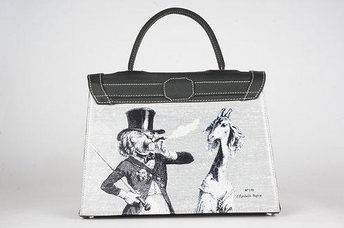 """Marquise cuir noir dos toile """"Le lion & la girafe"""" 8222"""