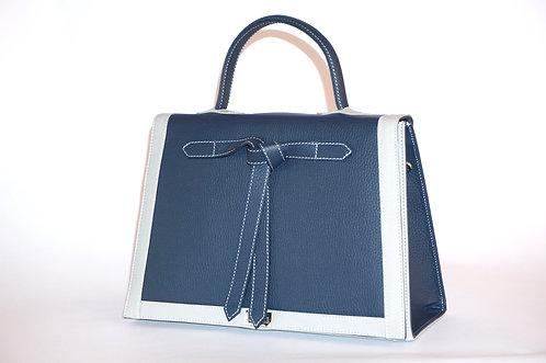 Marquise cuir bleu marine & tourterelle  5852
