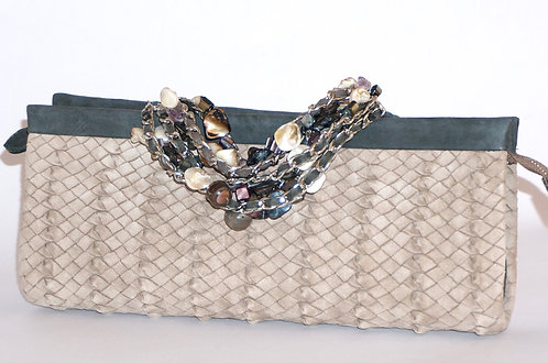 Trianon pochette bracelet daim crème 5570